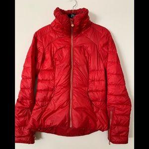 Lululemon red long sleeved puffer jacket, full zipper, side pockets, size 4